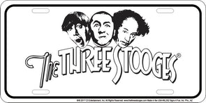 The Three Stooges License Plate: White - READY TO SHIP