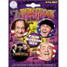 The Three Stooges: Four Button Set Faces - READY TO SHIP