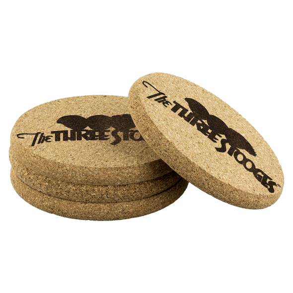 Three Stooges Cork Coasters - Set Of 4 - FREE SHIPPING