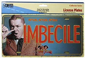 Three Stooges Curly License Plate: Imbecile