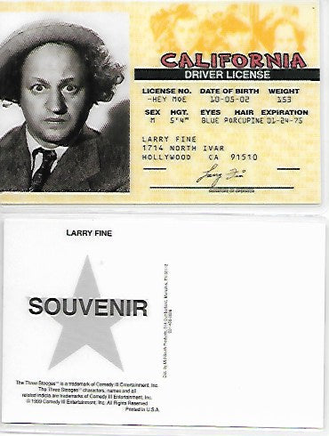Three Stooges Drivers License: Larry Fine