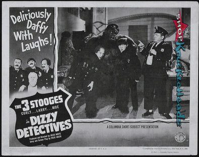 Three Stooges 8X10 Lobby Card Reprint: Dizzy Detectives - READY TO SHIP