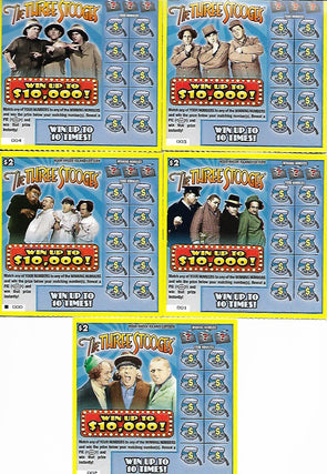 Three Stooges Novelty Lottery Tickets - Lot Of 5