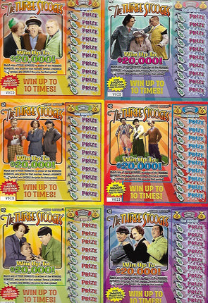 Three Stooges Novelty Lottery Tickets - Lot Of 6