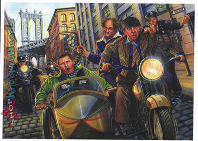 Three Stooges 8X11 Trading Card Print - Motor Marc Art - Get Away