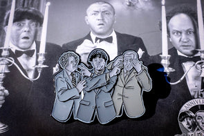 The Three Stooges Enamel Pin - Black & White - READY TO SHIP