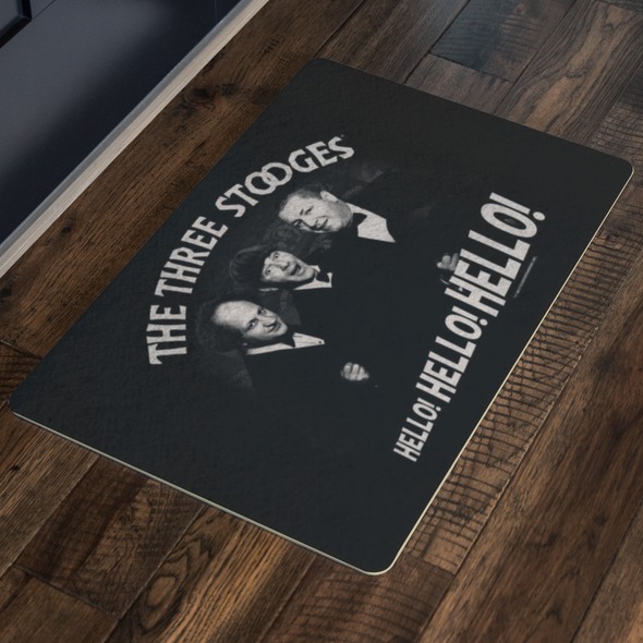 THREE STOOGES CLASSIC HELLO DOORMAT - FREE SHIPPING