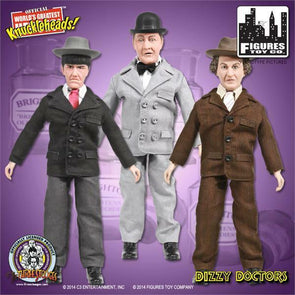 Three Stooges Action Figures | Dizzy Doctors: Moe, Larry, Curly - 3 Pack