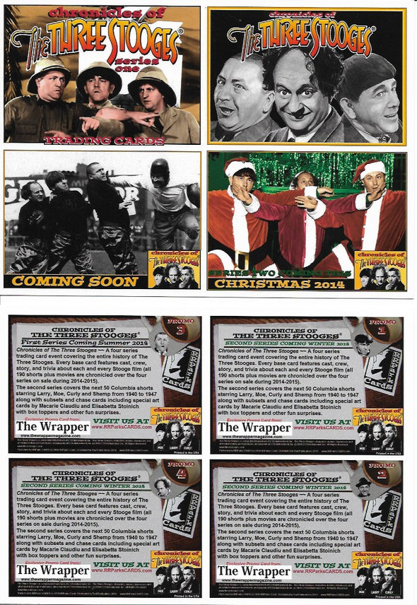 Three Stooges Trading Cards Uncut Promo Sheet Of 4 Series 1 - Version 2 Santa
