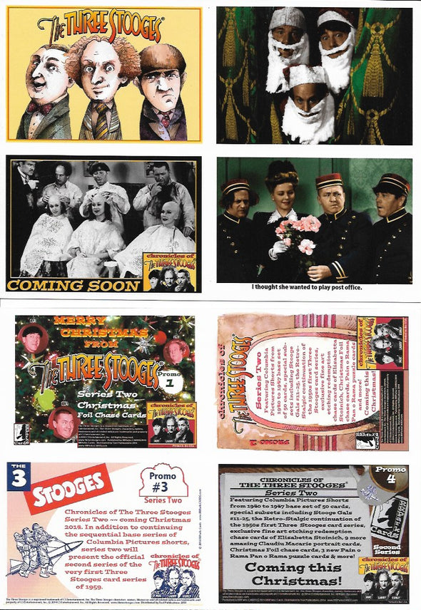 Three Stooges Trading Cards Uncut Promo Sheet Of 4 Series 2