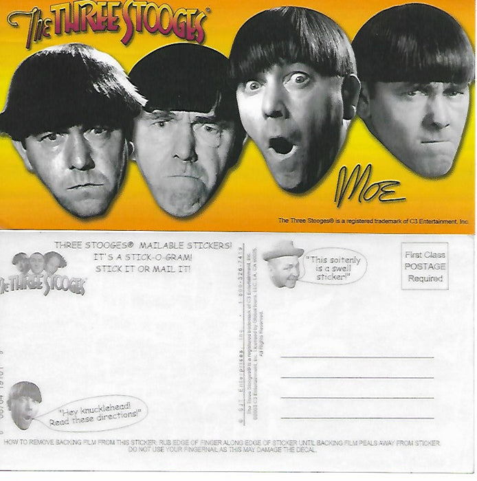 Three Stooges Stick-O-Gram Mailable Sticker Moe Faces