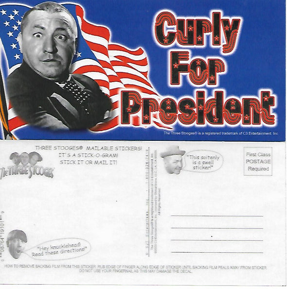 Three Stooges Stick-O-Gram Mailable Sticker Vote Curly