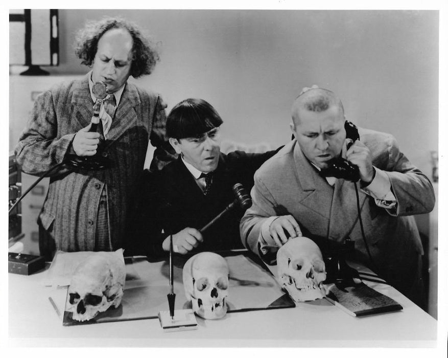 Three Stooges Curly Skull Phones Original Glossy Promo Photo 8X10