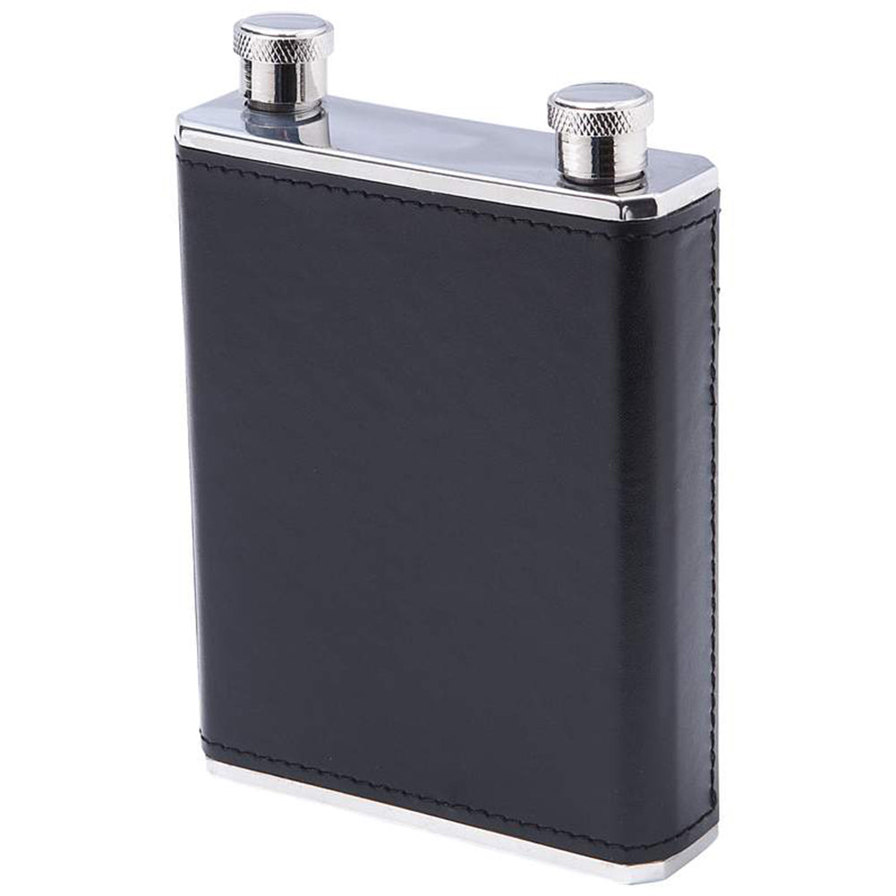10oz Stainless Steel Dual Compartment Flask with Black and Brown Wrap