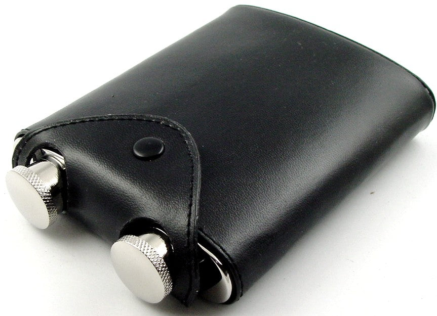 2 In 1 Twin Beverage Flask With Leather Case