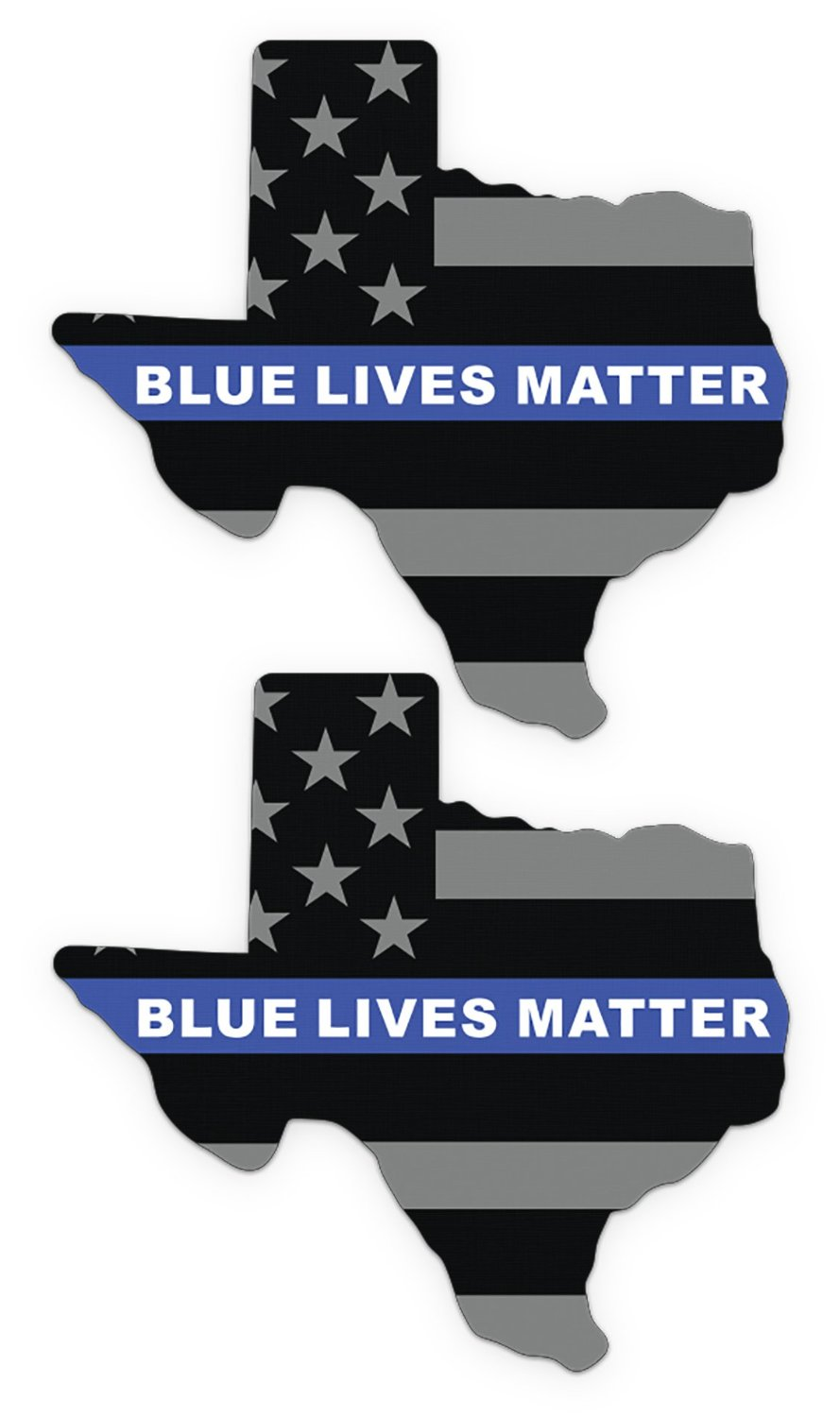 2 Pack of TEXAS Blue Lives Matter Vinyl stickers for Car or Window (2 Pack)