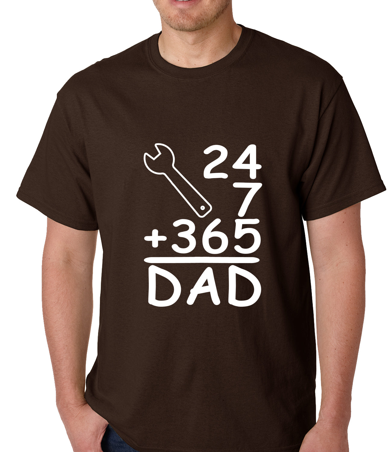 24+7+365 = Dad Father's Day Mens T-shirt Brown