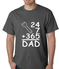 24+7+365 = Dad Father's Day Mens T-shirt Charcoal Grey