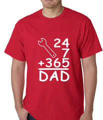 24+7+365 = Dad Father's Day Mens T-shirt Red