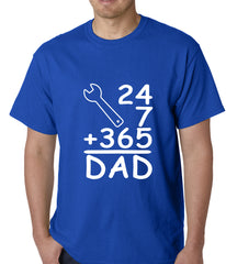 24+7+365 = Dad Father's Day Mens T-shirt Royal Blue