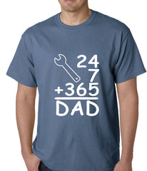 24+7+365 = Dad Father's Day Mens T-shirt Slate Blue