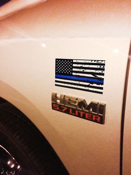 3 Pack Of Tattered Blue Line Flag Thin Blue Line Decals