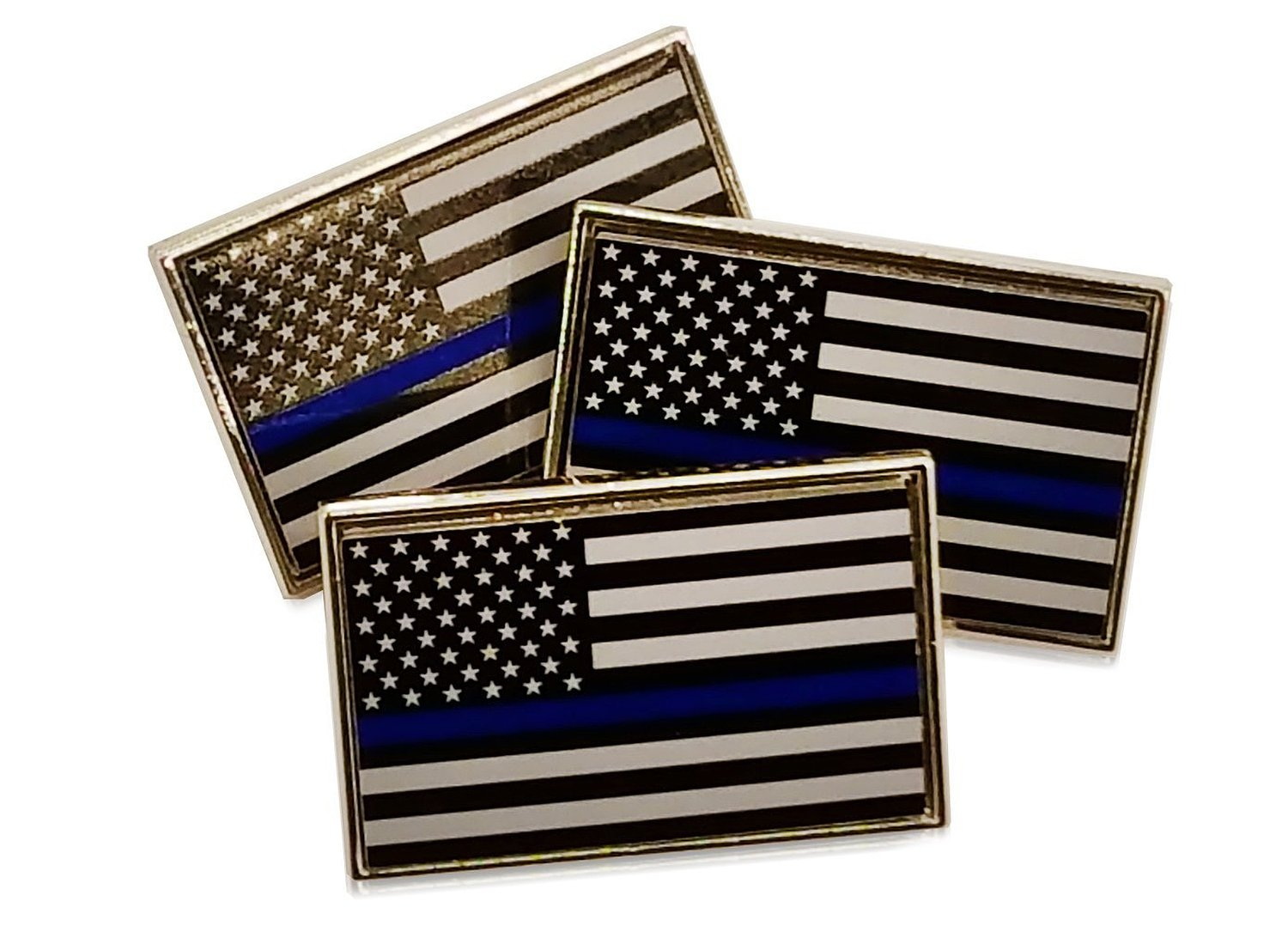 3 Pack of Thin Blue Line American Flag Police Support Lapel Pins