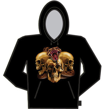3 Skull With Rattle Snake Hoodie