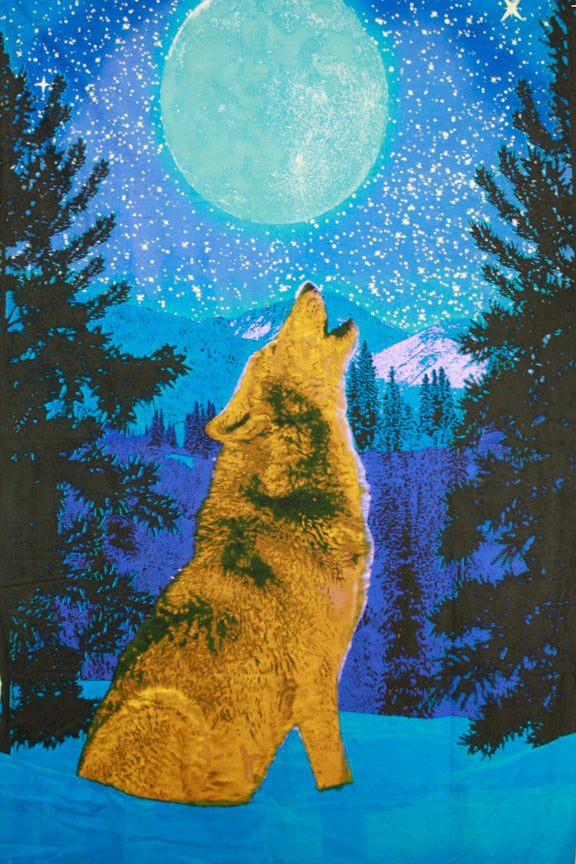 3D Glow in the Dark Wolf Tapestry 60 x 90""