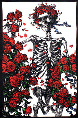 3D Grateful Dead Skeleton 'n Roses Tapestry 60 x 90""