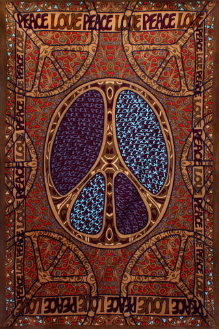 3D Peace Love Tapestry Wallhanging 60 x 90""