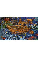3D Steampunk Tugboat Tapestry 60 x 90""