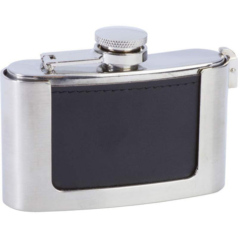 3oz Genuine Leather Wrapped Stainless Steel Belt Buckle Flask