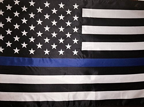 4 by 6 Foot BlueLine Flag, Thin Blue Line Flag, Black, White And Blue American Flag With Brass Grommets