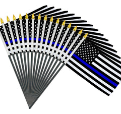 4x6 Inch Blue Line American Police Flag 12 Pack