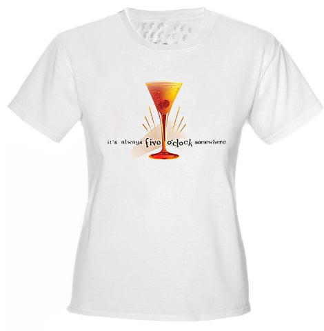 5 O'clock Somewhere Cosmopolitan Girls T-Shirt