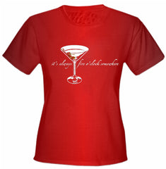 5 O'clock Somewhere Martini Girls T-Shirt Red
