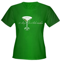 5 O'clock Somewhere Martini Girls T-Shirt Kelly Green