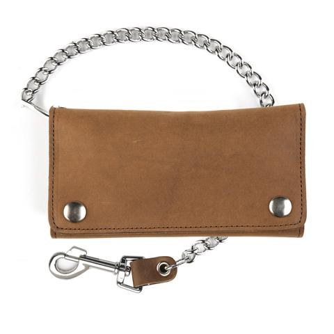 "6"" BROWN TRI-FOLD WALLET W/ 12"" CHAIN"