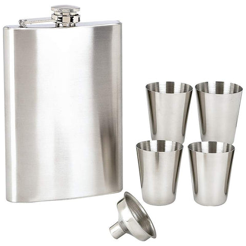8 Ounce Flask with Cups and Funnel Set