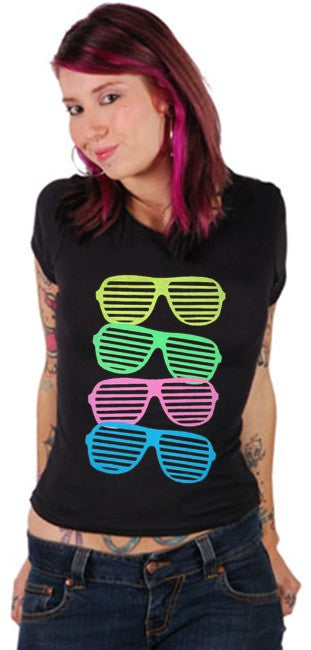 80's Style Sunglasses Black Light Responsive Girls T-Shirt
