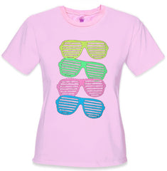 80's Style Sunglasses Black Light Responsive Girls T-Shirt Pink