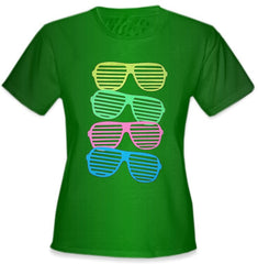 80's Style Sunglasses Black Light Responsive Girls T-Shirt Kelly Green
