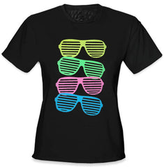 80's Style Sunglasses Black Light Responsive Girls T-Shirt Black