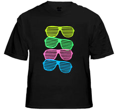 80's Style Sunglasses  Black Light Responsive T-Shirt