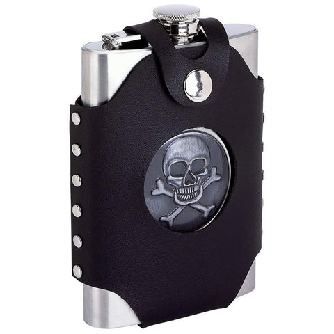 8oz Stainless Steel Skull And Crossbones Flask with Sheath