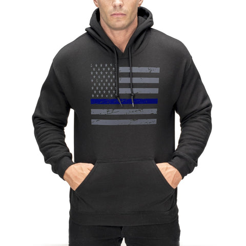Police Thin Blue Line American Flag - Support Police Department Horizontal Adult Hoodie