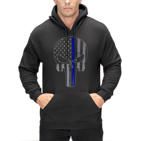 Police Thin Blue Line Skull American Flag - Support Police Department Adult Hoodie