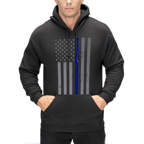 Police Thin Blue Line American Flag - Support Police Department Adult Hoodie