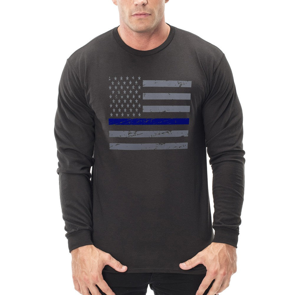Police Thin Blue Line American Flag - Support Police Department Horizontal Thermal